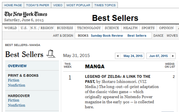 A Link to the Past on the NYT Bestseller List